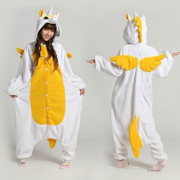 2016 Cartoon Dor Bonbons Licorne Kigurums Pyjamas Dhiver Adulte Jaune Licorne Onesie