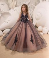 Navy and Pink Flower Girl Dress Birthday Wedding Party Holiday princess gown Bridesmaid V neck sleeveless Tulle Lace Dresses