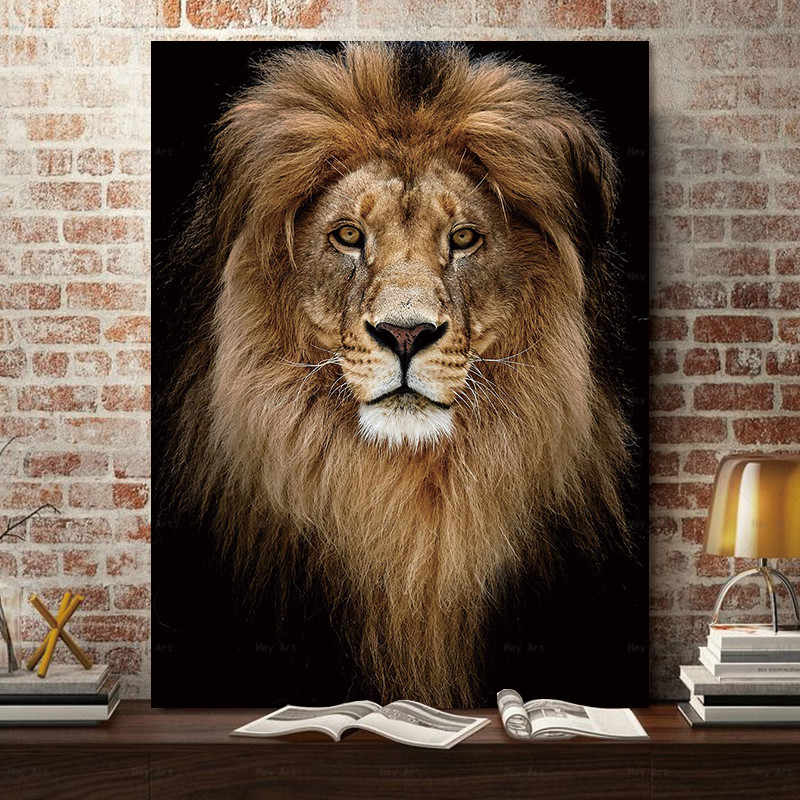 HD Animal Wall Art Canvas Painting Tiger Picture Lion Posters Deer Prints Giraffa Home Decor for Living Room