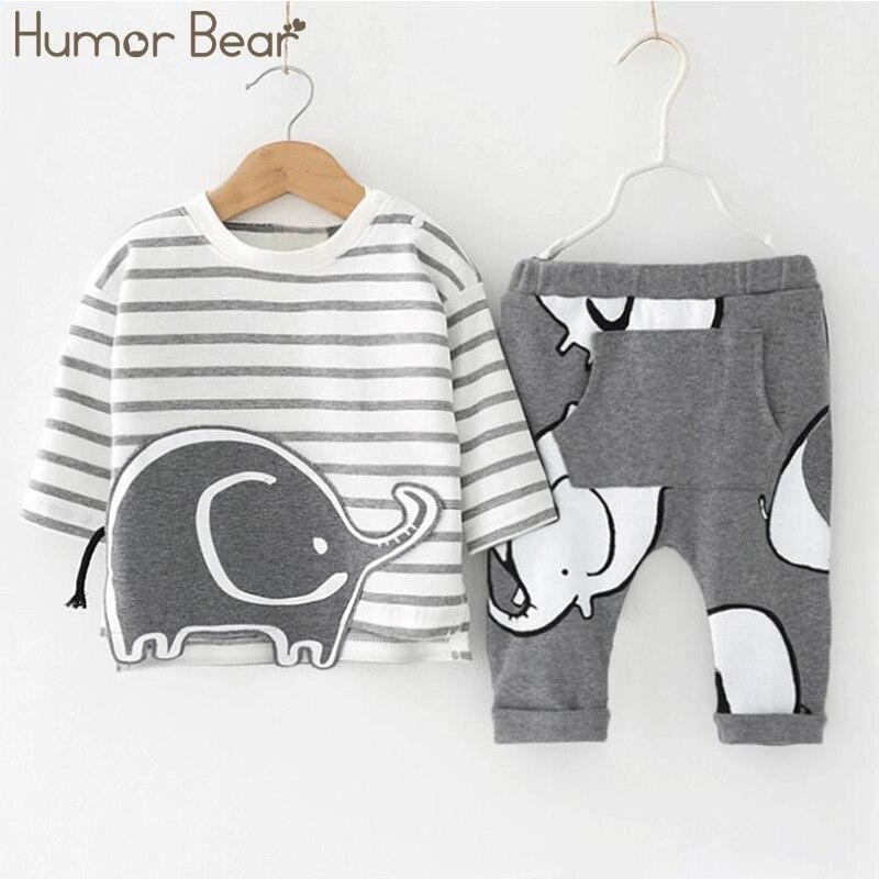 Humor Bär Baby Jungen Kleidung Baby Jungen Kleidung Sets Mode Cartoon Stil Lange Hülse + Hosen 2 stücke Anzüge