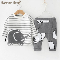 Humor Bear Baby Boys Clothes Baby Boys Clothing Sets Fashion Plaid Bow Tie Style Long Sleeve