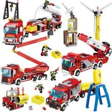 4 в 1 город инженерные пожаротушения деформации автомобилей Цифры строительные блоки Совместимые Legoing полиции Кирпичи Игрушки