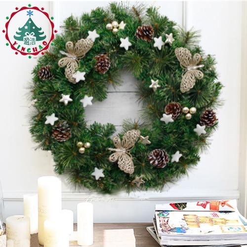 inhoo Multi Style 60cm Christmas Rattan Ring Christmas Wreath Dense Pine Needles the door Handmade Rattan Home Hanging Decor