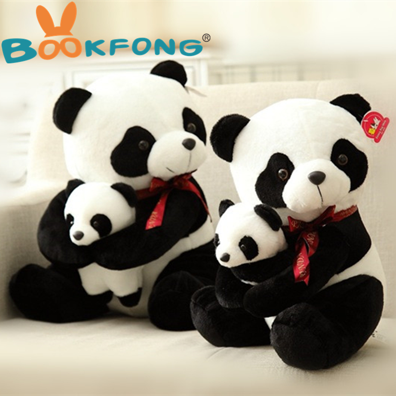 BOOKFONG 25CM Stuffed Animal Plush Panda Father And Son Panda Doll Baby Kids Sleeping Appease Toys Birthday Gift 40cm 50cm cute panda plush toy simulation panda stuffed soft doll animal plush kids toys high quality children plush gift d72z