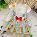2015 autumn paragraph new Korean girls long-sleeved dress big bow princess dress