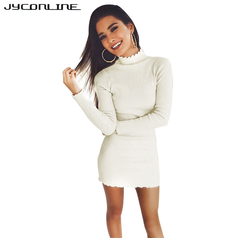 JYConline 2017 Long Sleeve Autumn Winter Dresses Women Knitted Sweater Dress Night Club Party Sexy Mini Dress Bodycon Robe Femme knitted pockets women sweater mini dress v neck long sleeve dresses autumn winter 2018 loose robe femme plus size gv063