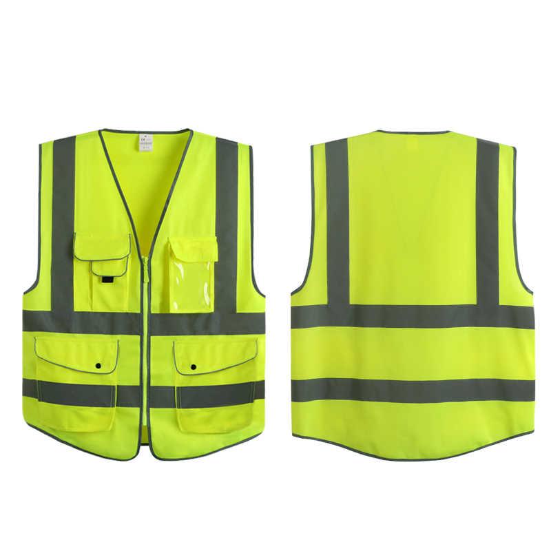 9 bolsos Zíper Frontal De Segurança De Alta Visibilidade Colete de Segurança Com Fitas Reflexivas Atende ANSI/ISEA Normas (S/ m/L) rosa