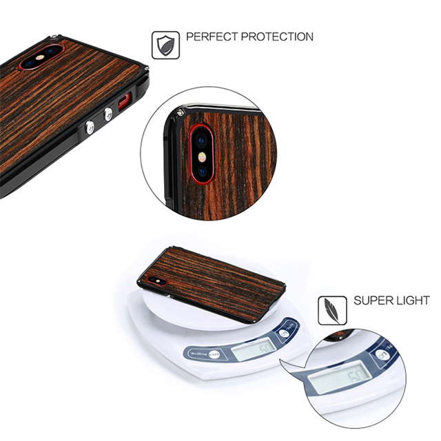 Real Wood Case For iPhone X – Natural Wood With Fiber+Metal Frame
