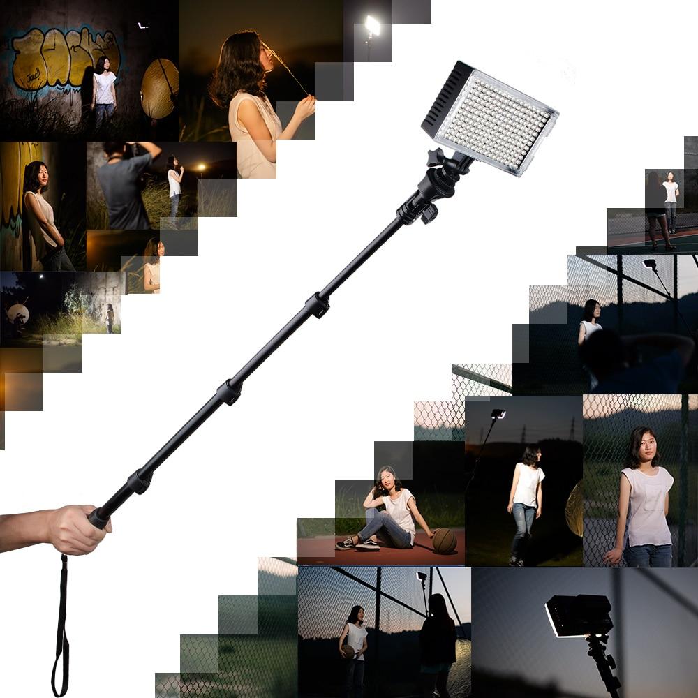 Pergear 216 LED Video Light On Camera Photo Sensor Light Dimmable 3200K-5500K + Yunteng 188 Selfie Stick Extendable Pole фотографическое освещение pergear led 3200k 5500k 298