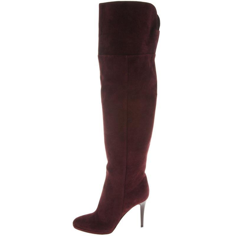 Burgundy Color Women Boots Genuine Leather Over The Knee Round Toe Shoes Wide Thigh High Boots Ladies Winter Platform Shoes nayiduyun new fashion thigh high boots women genuine leather round toe knee high boots high heel party pumps casual shoes