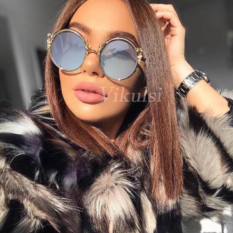 Luxury Italy Oversized Round Sunglasses Women UV400 Retro Br