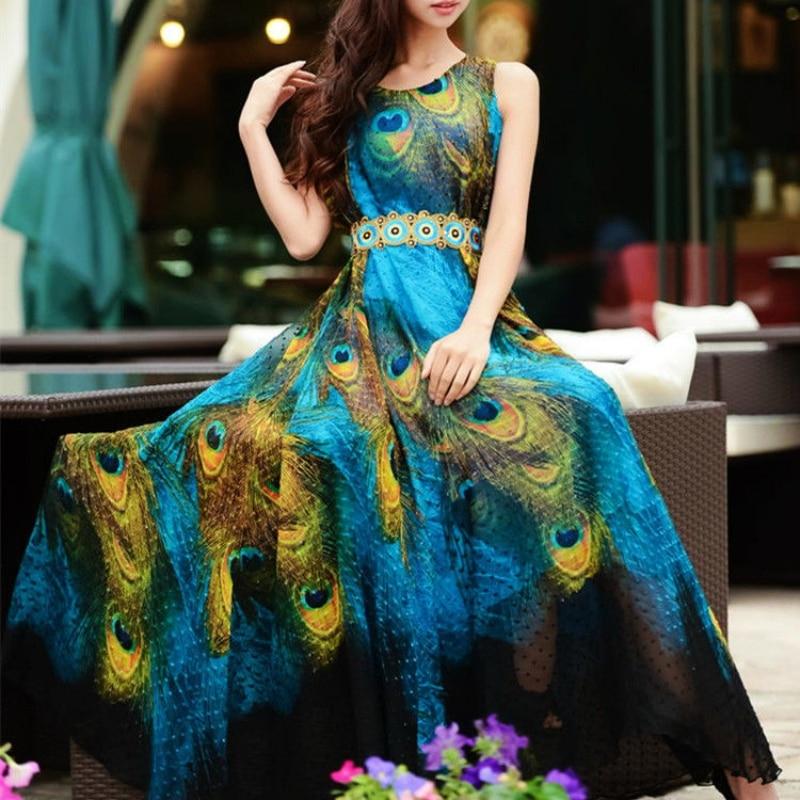 Summer Lady Sleeveless Expansion Underdress Women Maxi Party Dress Boho Long Beach Chiffon Peacock Printed Dress