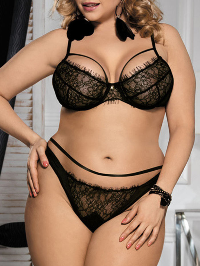 f2db3fee3f4 Wipalo Plus Size Sexy Black Lace Bralette Briefs Set Underwire Lingerie  Balcony Women Bra Set Bras