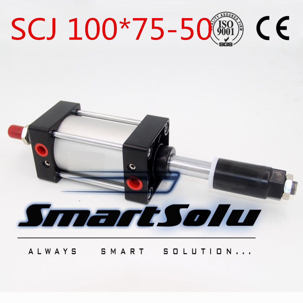 Free Shipping Standard air cylinder single rod 100mm bore 75mm stroke SCJ100x75-50 50mm adjustable stroke pneumatic cylinder pneumatic cylinder cdg1bn40 50 air cylinder 5pcs sets free shipping