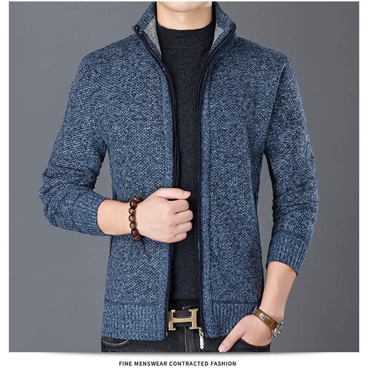 HTB1hDPyX5HrK1Rjy0Flq6AsaFXav Fashion Wind Breaker Jackets Men Stand Collar Thicken Fleece Jacket Solid Knit Overcoat Cardigan Male Coat Brand Men's Clothing