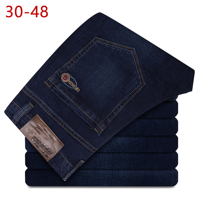 Plus Size 30-48 Stretch Baggy   Jeans   For Men Spring Autumn Male Casual Classic Elastic Straight Denim Pants Mens Blue Overalls