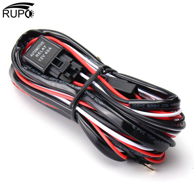 RUPO LED Work Light Bar Cable Car Auto Off Road Driving Fog Light Wiring Loom Harness Kit With On/Off Switch 2.5M 40A DC12V ...