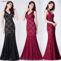 Sexy Prom Dresses Long Ever Pretty Elegant Black Mermaid Deep V Neck Sparkle Full Lace Burgundy Special Party Gowns Prom Dresses