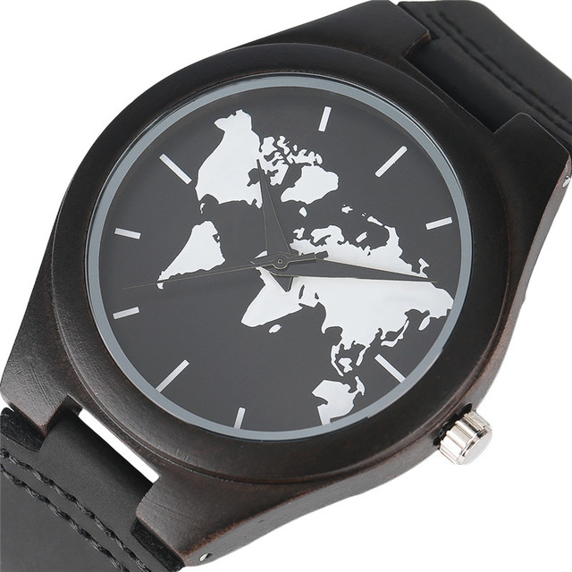 Aliexpress buy world map wooden watch men and women genuine world map wooden watch men and women genuine leather band dark bamboo quartz wathes mans fashion gumiabroncs Choice Image
