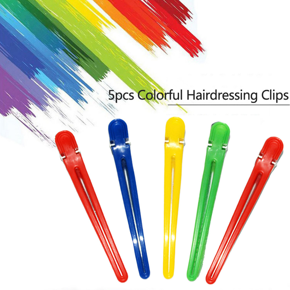 Random Color 5pcs Colorful Hairdressing Salon Sectioning Hair Clip Hairdresser Accessories Hairdressing Clamps Hair Styling Grip