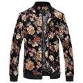 Homens Jaqueta de Outono Dos Homens Novos Casacos Florais Coreano Quente Slim Fit Men Manga Comprida Coats Gola Mens Roupas blusão