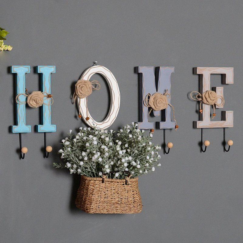 Wood Letter Home Decoration Wall Hangings Clothes Hanging Hook