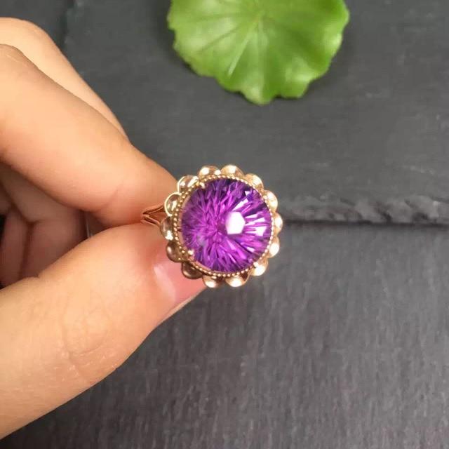 Anillo de oro de 18 quilates con gemas amatista Natural, joyería fina, con diamantes redondos, para mujeres