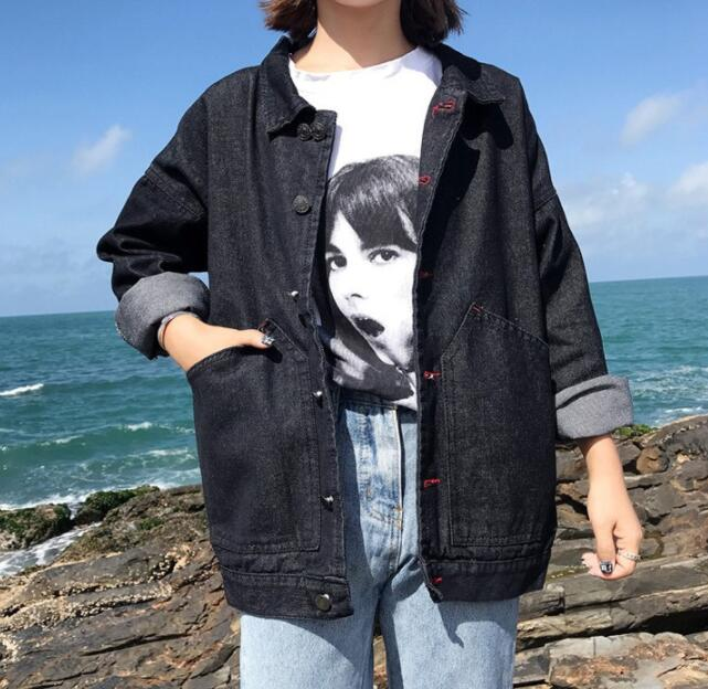 2018 spring and autumn loose black denim jacket wild coats F54