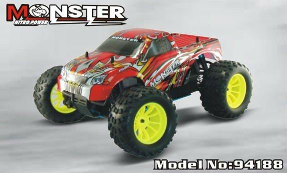 1:10 scale hsp rc car 4wd nitro off road monster truck -Pivot Ball Suspension+2CH AM control remote transmitter (Model NO:94188)