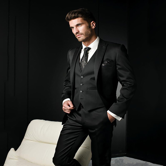 Latest Coat Pant Designs Black Formal Italian Wedding Suits For Men 3  Pieces Groom Tuxedos Slim Fit Men Suits Ternos Masculino ecd8076c2a99