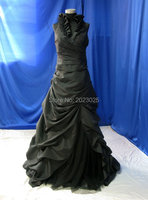Black Wedding Dress Taffeta With Halter Neck Custom Handmade Gothic Bridal Gown Ruched Real Picture Robe
