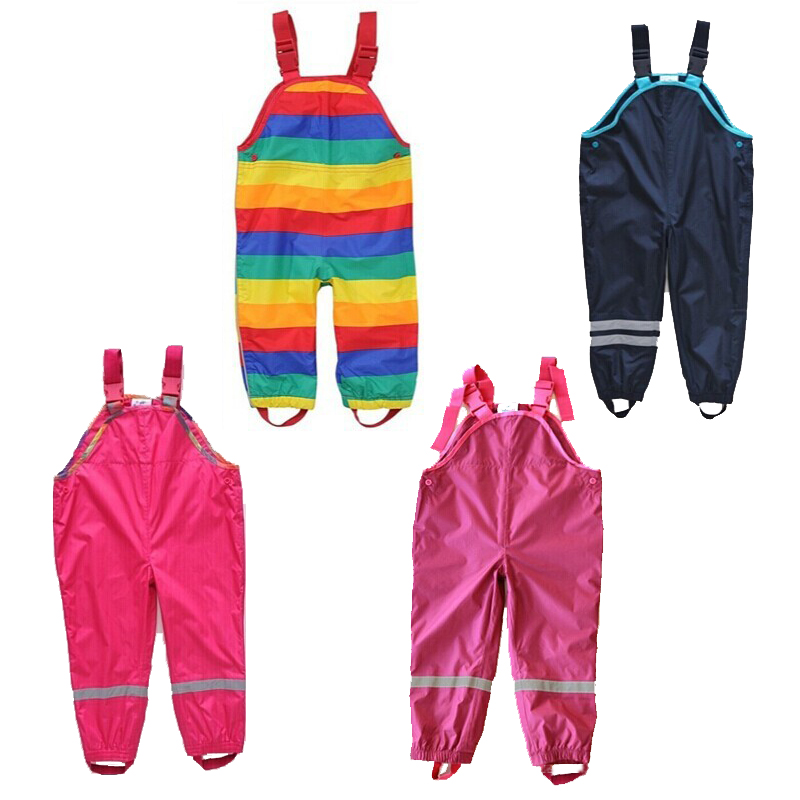Pojkar och flickor suspenders strandbyxor barn regnbyxor vattentäta skidbyxor vindtäta byxor