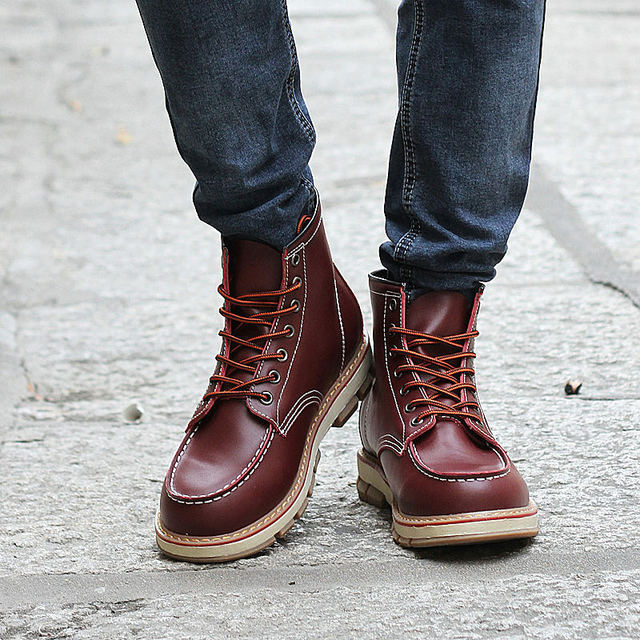 size 40 65e40 7688f Autumn New Designer Boots Men Leisure Lace-up Tall Boots Men s Leather  Botas Shoes Spring Fashionable Mens Boots Size 38 - 43