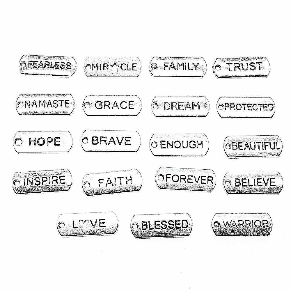 15 cái/lốc Từ Thẻ Mặt Dây Chuyền Quyến Rũ Cổ Màu Bạc Phước Đức Tin Tin Tin Tưởng Họ Namaste Không Biết Sợ Giấc Mơ Hy Vọng Quyến Rũ