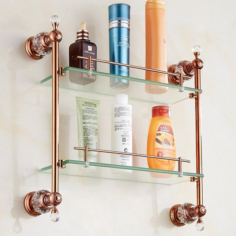 Antique Crystal Glass Shelf Bathroom Luxury Bronze Double Layer ...