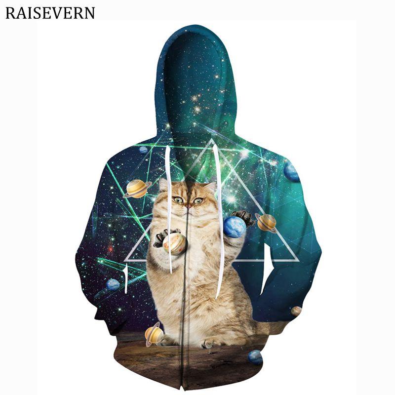 Raisevern евро Размеры Для мужчин толстовки кофты Galaxy планета кошек 3D на молнии с принтом Для мужчин Для женщин кофты Топы Для мужчин капюшоном