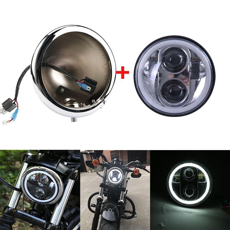 5.75 pouces projecteur LED phare de moto haut/bas faisceau DRL lumière 5.75 ''support de phare logement seau pour Harley|  -