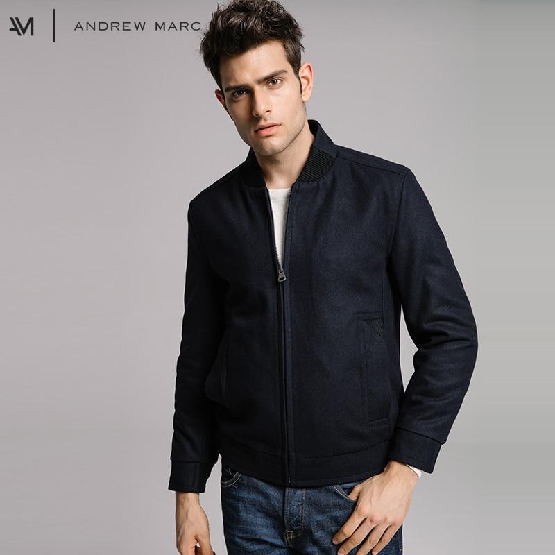 ANDREWMARC 2017 Man New Autumn Winter Short Woolen Jacket Coat Casual Leisure Slim Male Wool Blends Coat TM7AW316