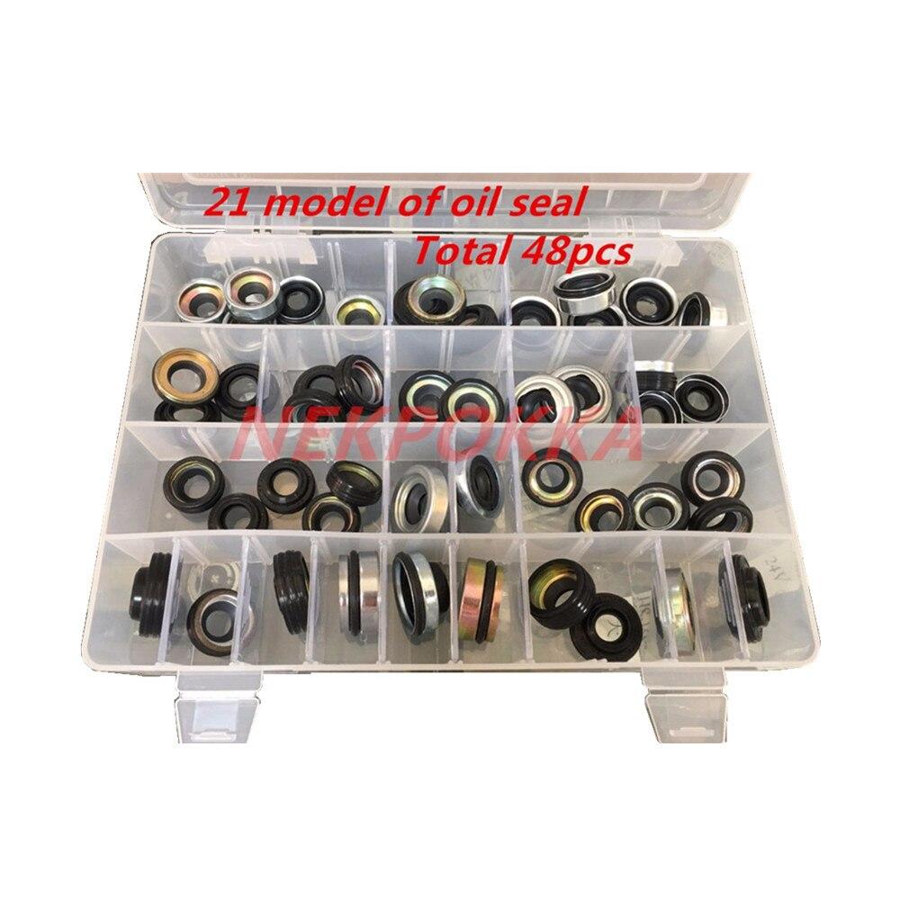 48 pezzi automobile aria condizionata compressore paraolio set per FS10 7SUB16 MAS90/105 A32 DKS32C 10PA15C/17C HCC V5 albero di tenuta