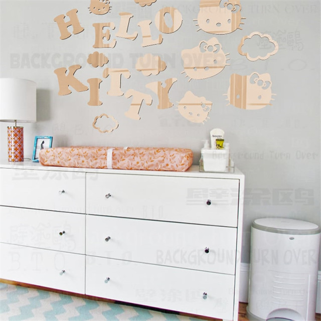 20pcs/set Cartoon Decorative Hello Kitty Wall Sticker For Kids Rooms  Acrylic Mural Wall Decals