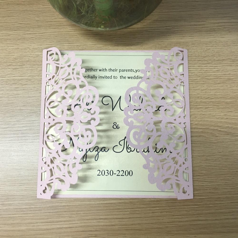 Cheap Wedding Invitation Paper: Discount Wedding Invitation Card Laser Cut Pink Paper