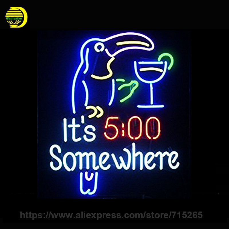 It\'s 5 O\'clock Somewhere Parrot Neon Sign Glass Tube Neon Recreation ...