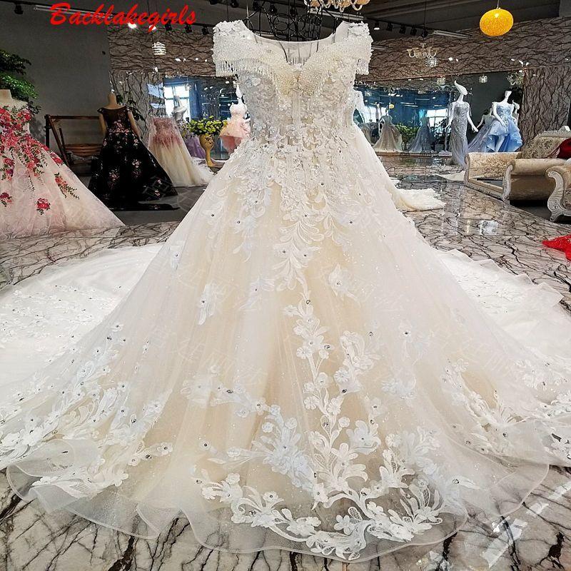 00307 2018 Exquisite V-ausschnitt Sleeveless Perlen Perlen 3d Blumen Bestickt Auf Hochzeit Kleid