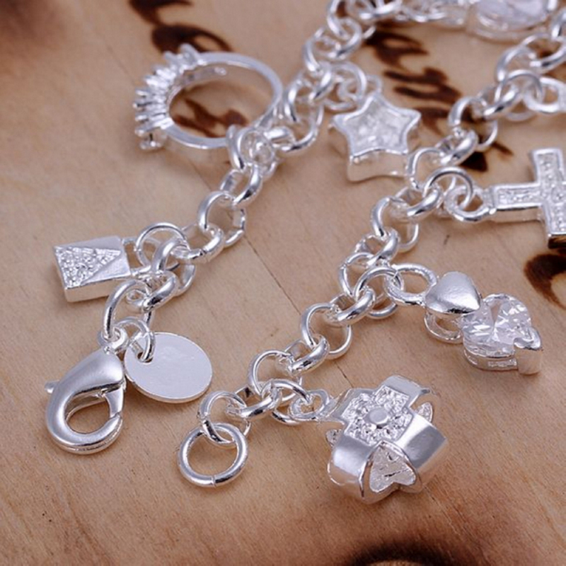 Aliexpress Silver Plated Bracelets For Women Jewelry Diy Charm Bracelet Bangle With Star Heart Charms Free Shipping Lkb065 From