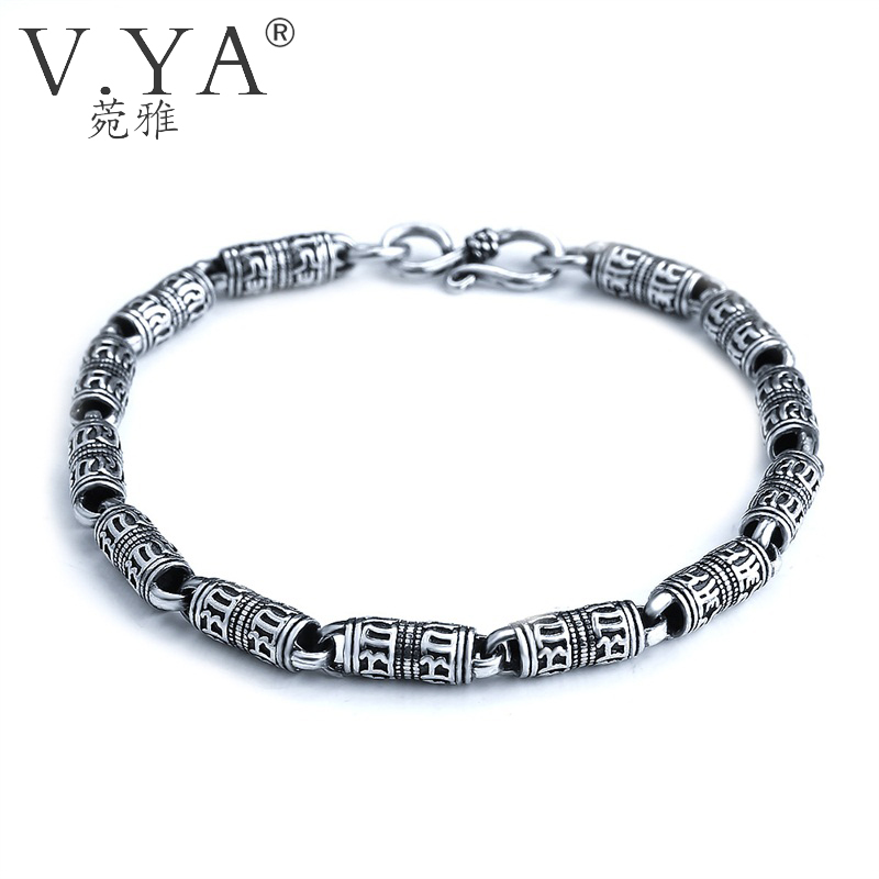 V.YA Black Thai Silver Devanagari Bracelet Men's Six Words Mantra Bracelet Lucky Security Bracelet 925 Sterling Silver Jewelry матрас аскона balance lux 70x190