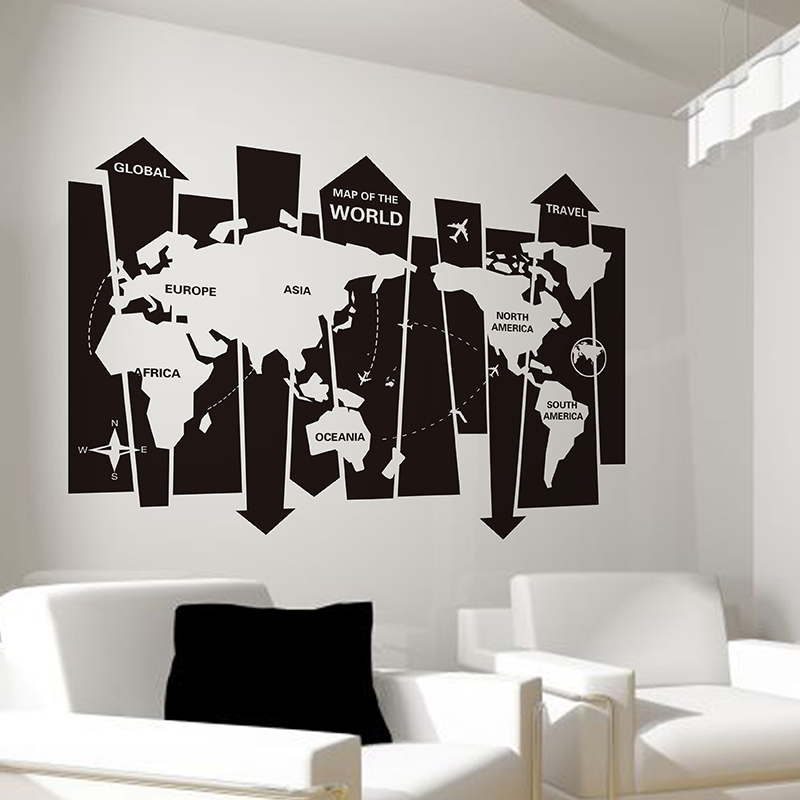 Removable world wall map sticker handmade arrow map wall for Decoration company