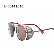 FONEX Coating Sunglass Steampunk Round Fashion Sunglasses Women Brand Designer Steam Punk Metal Sun Glasses  Retro Oculos A056
