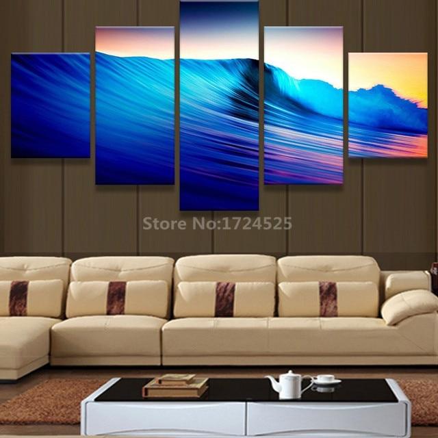 no frame 5 pieces amazing blue wave canvas prints landscape painting
