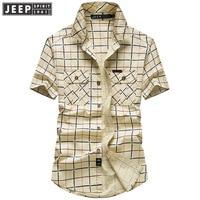 JEEP SPIRIT Brand Summer Men Shirts Casual Cotton Breathable Plaid Shirt Men Short Sleeve camisa masculina Big Size 5XL Shirts