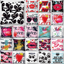 Fashion beauty pattern cute panda lip pillow case  love letter  square pillow cases high definition pillow cover 45*45cm cagy d oulos love by definition
